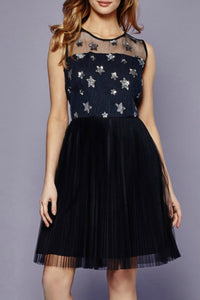 Embroidered Star Mesh Dress | Navy Fit and Flare Dress | Jolie Folie