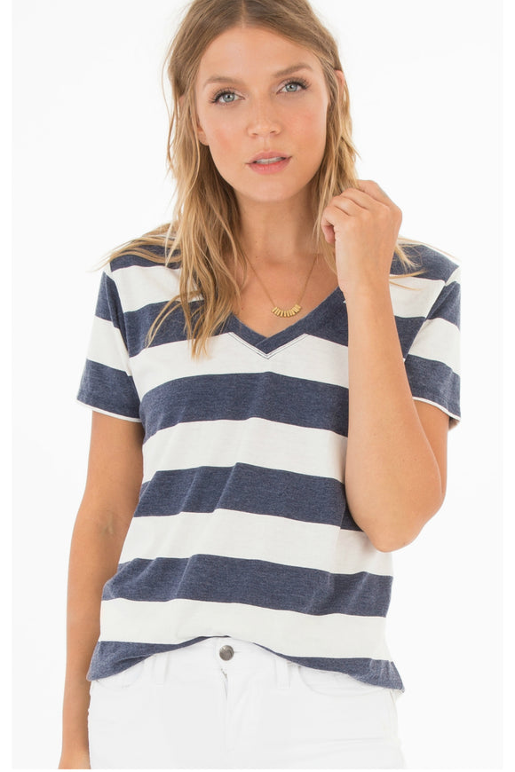 The Naples Striped Tee - Black Iris/Pearl