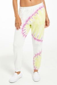 Sunburst Tie-Dye Jogger - White | Z Supply