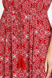 Red Mosaic Print Tassel Dress | Apricot