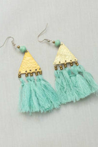 Brass and Tassel Teal Earrings | Just One