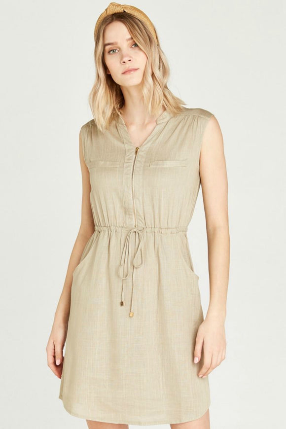 Zip Tie Waist Dress | Apricot