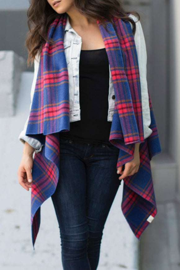 Trinity Vest in Blue Plaid