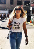 Peace Love And Fries White Tee | Pink Martini