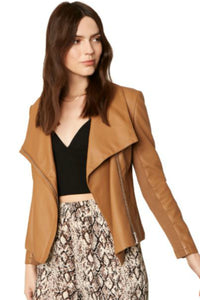 faux leather moto jacket in caramel color.