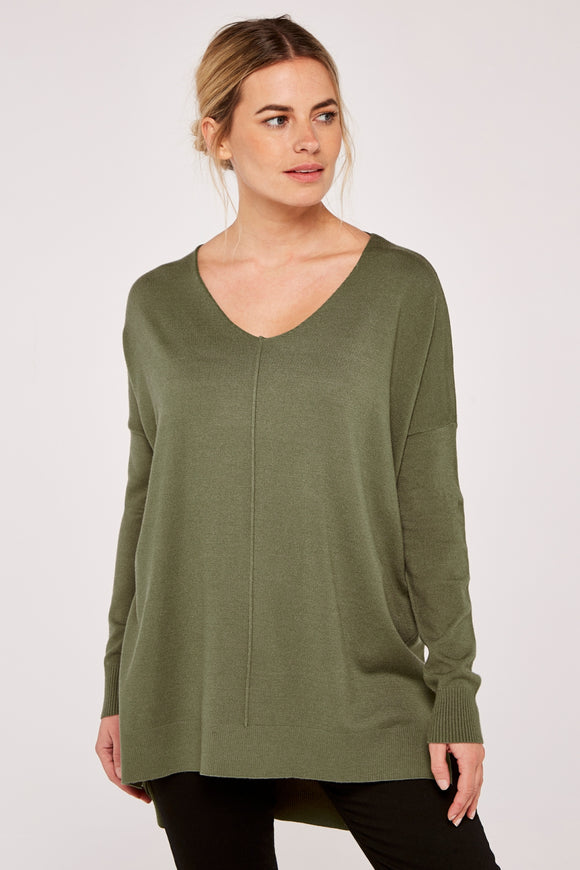 Green Soft V-Neck Sweater | Apricot