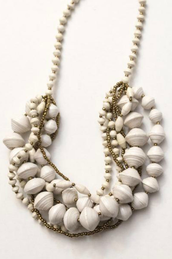 White and Gold Chunky Necklace | Just One
