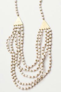White Paper Bead and Brass Necklace | Just One