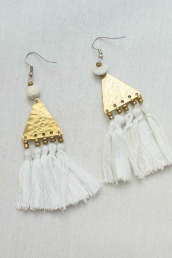 Brass and Tassel White Earrings | Just One