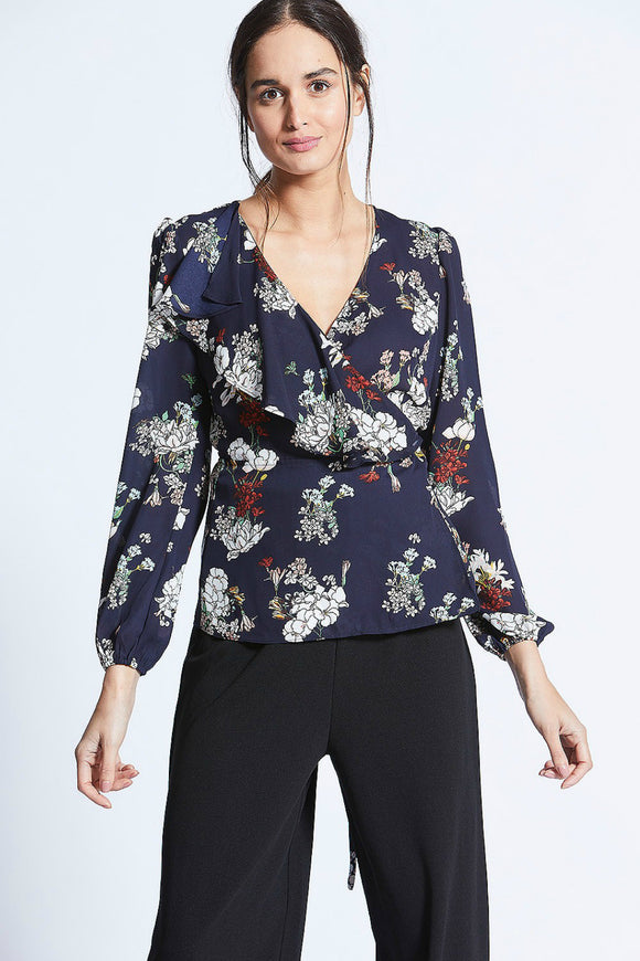 Navy Floral White Wrap Top | Angel Eye