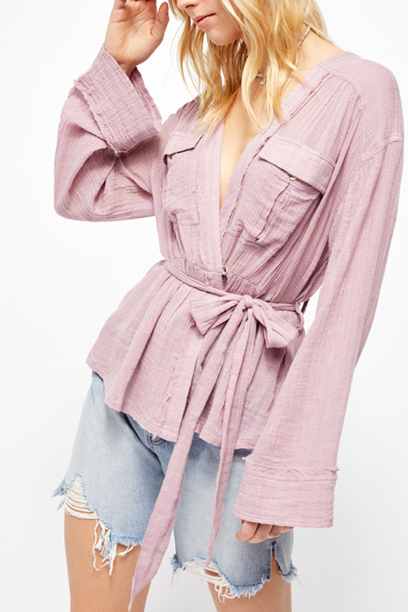 sheer wrap lilac kimono by free people