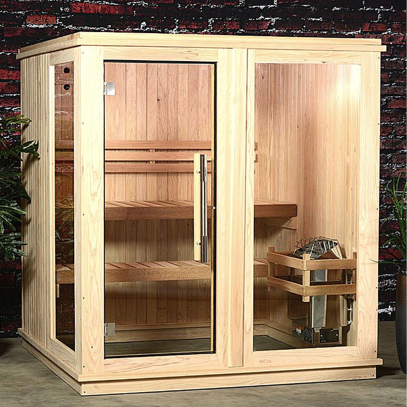 Almost Heaven Grayson 4-Person Indoor Sauna + Backlit Himalayan Salt Wall - My Sauna World