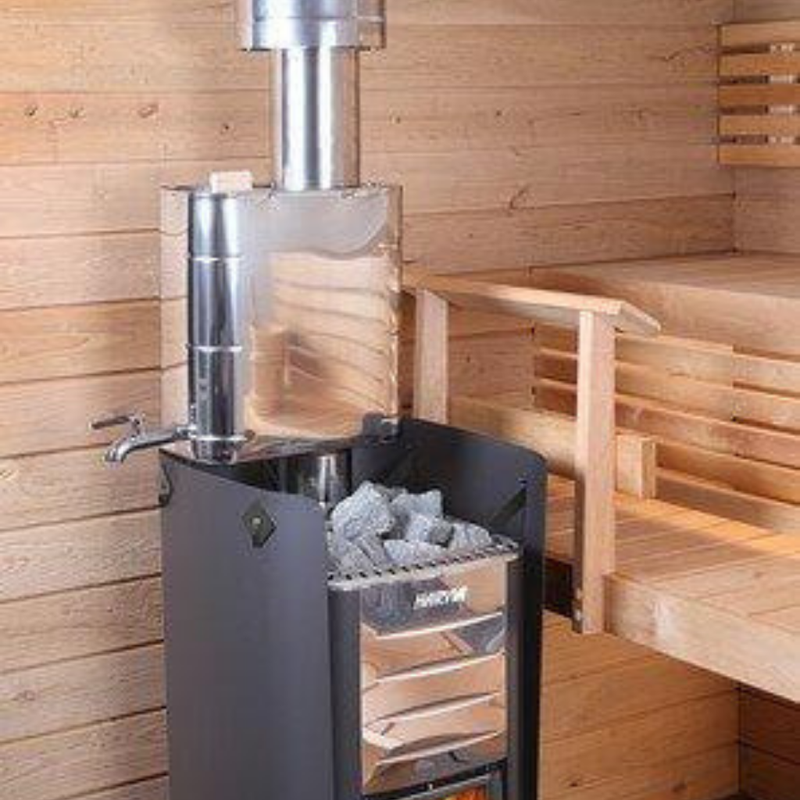 Harvia Wood Sauna Stove Pipe Mounted Water Heater - My Sauna World