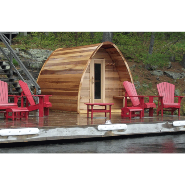 Dundalk Leisure Craft Clear Cedar POD Sauna with Wood Burning Heater + Chimney Kit, 2' Porch, Bevel Siding, & 2 Front Windows