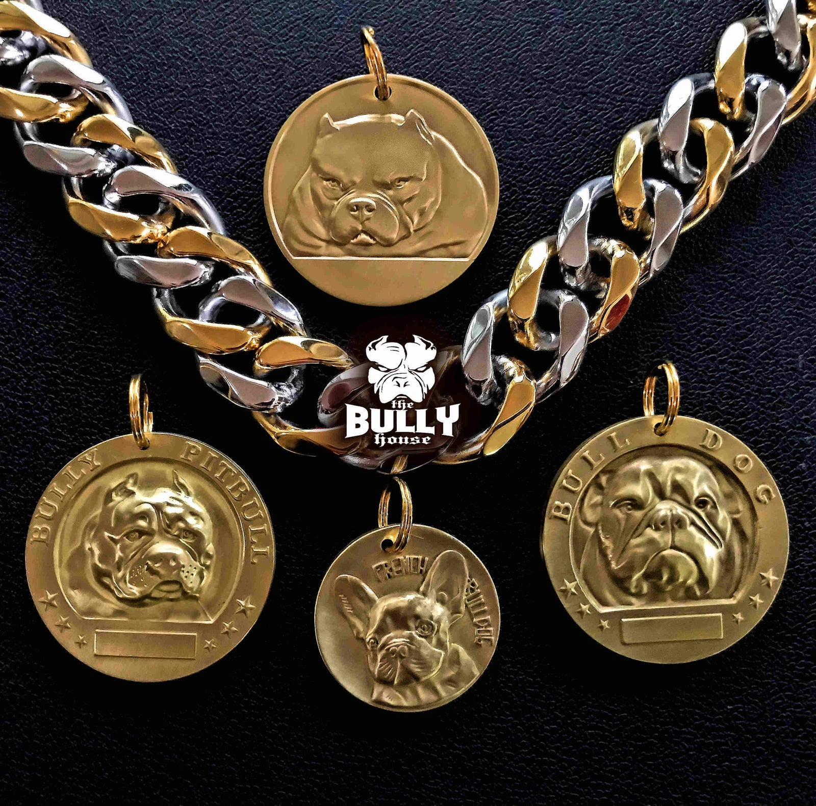 AMERICAN BULLY PIT MEDALLION - GOLD - 4cm big (free shipping in AUST)