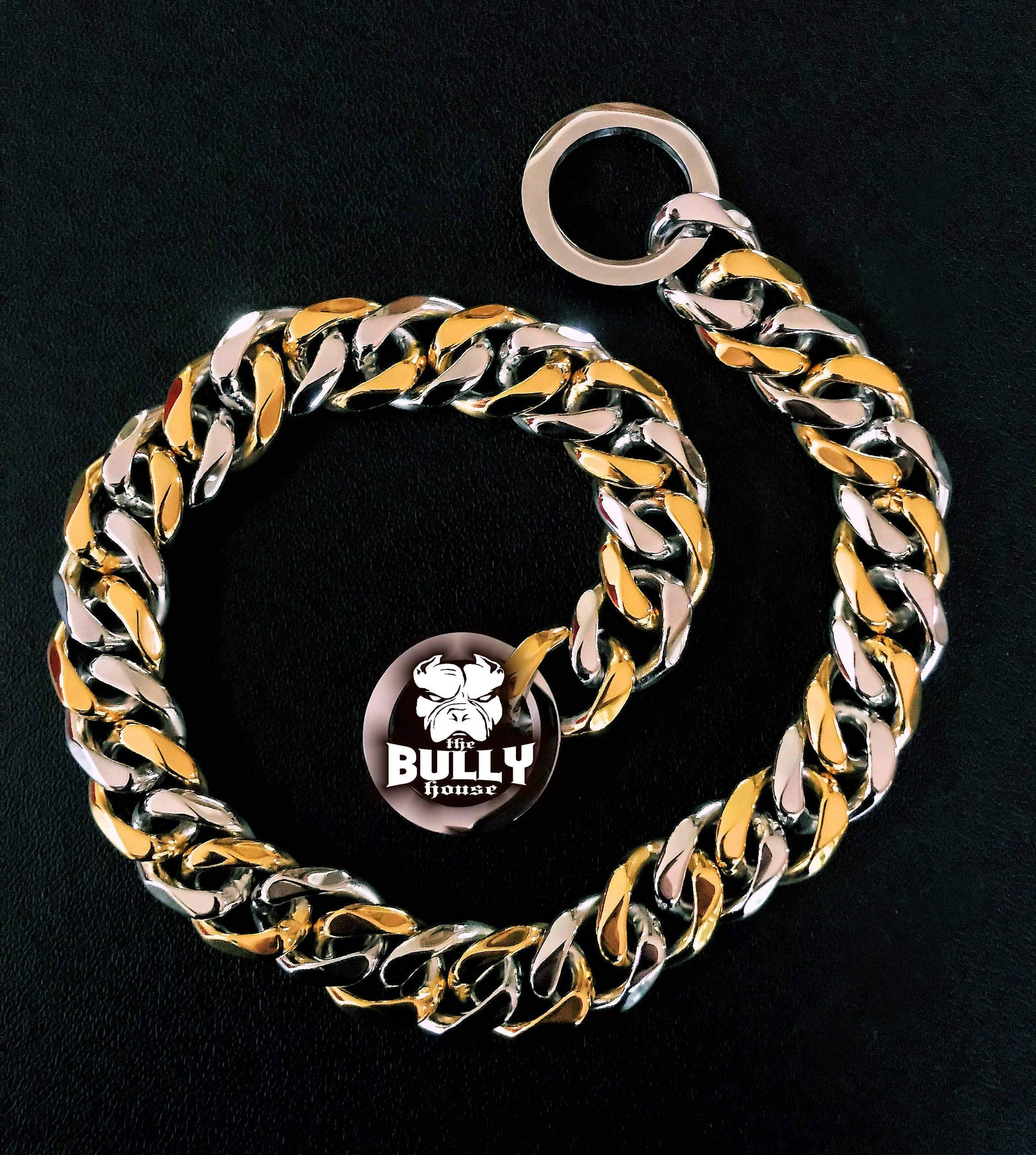 "The Bully House ""CHECK CHAIN Collection"" -  (2 TONE) Gold/Silver Link - 20mm Wide"