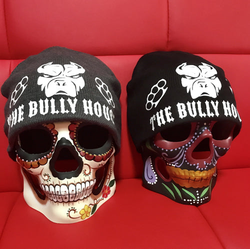 -BEANIES- by -THE BULLY HOUSE- BLACK/WHITE print (heavy duty)