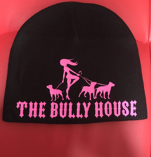 -BEANIES- by -THE BULLY HOUSE- (BLACK BEANIE/HOT PINK print (BULLY BABE)