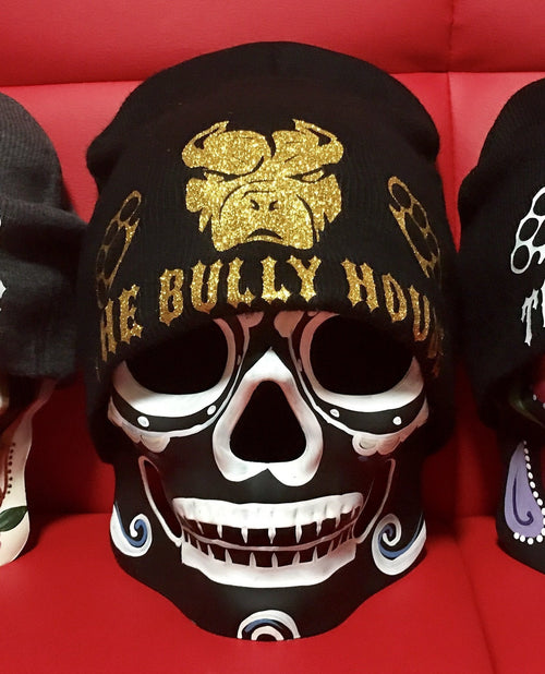 -BEANIES- by -THE BULLY HOUSE-BLACK BEANIE/ICED-GOLD print (heavy duty)