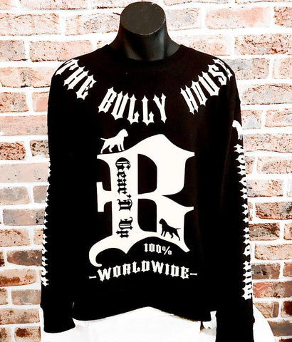 All Over Print - The Bully House -- HARDCORE Zip Up Hoodie -- (Unisex) WHITE / BLACK