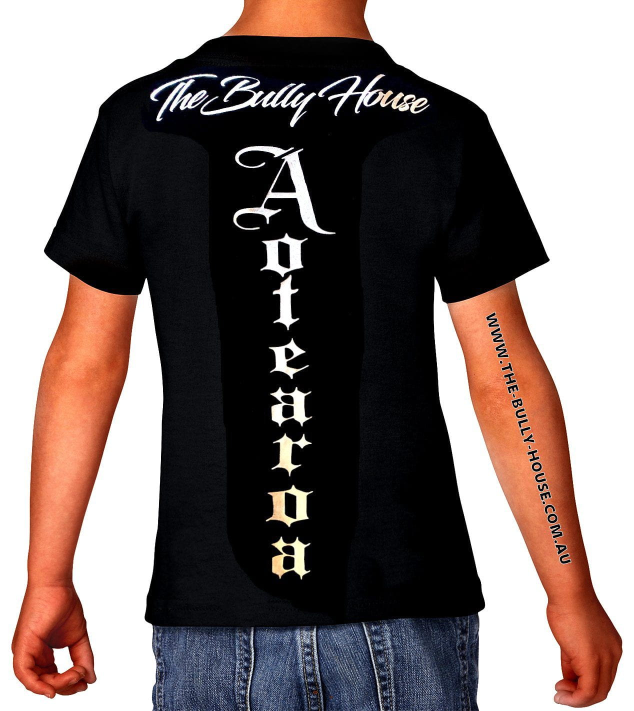 The Bully House - AOTEAROA - TATTOO T-Shirt - KIDS / SILVER CHROME HOT FOIL Print