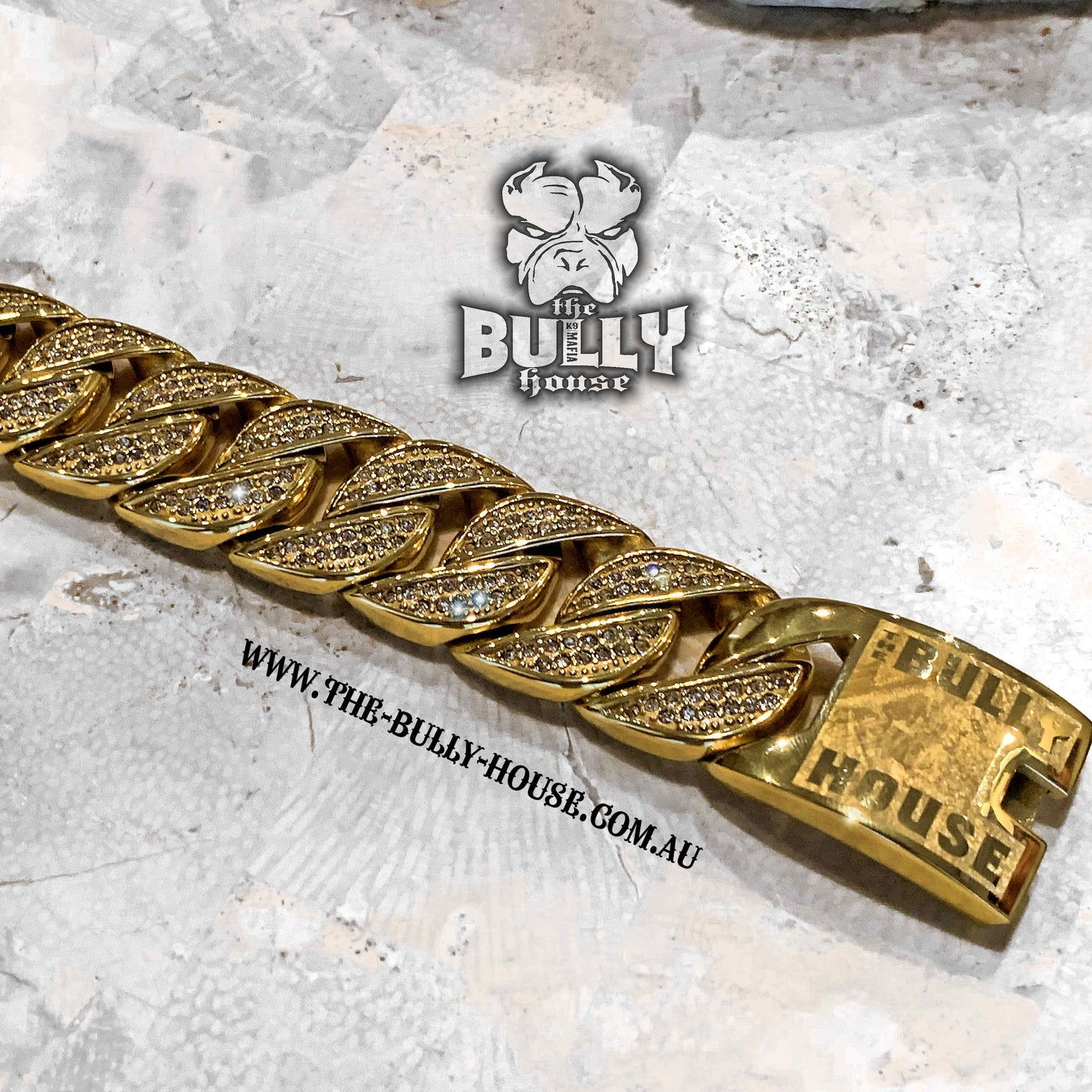 "The Bully House  ""ICED OUT MONSTER BRACELET"" GOLD 32mm wide  ---FREE SHIPPING---- in Oz"