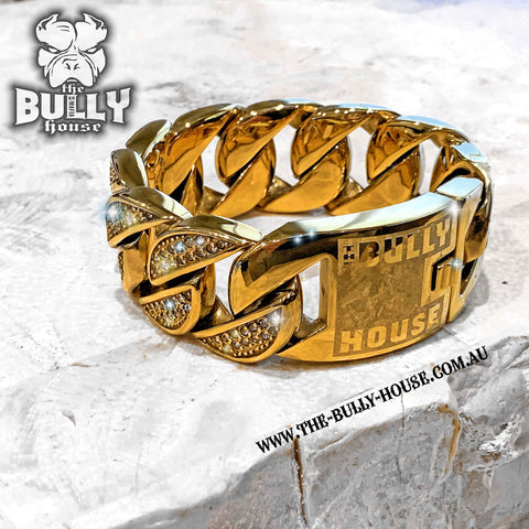BIG FAT MONSTER BRACELET - GOLD 32mm wide - by: The Bully House ---FREE SHIPPING---- in Oz