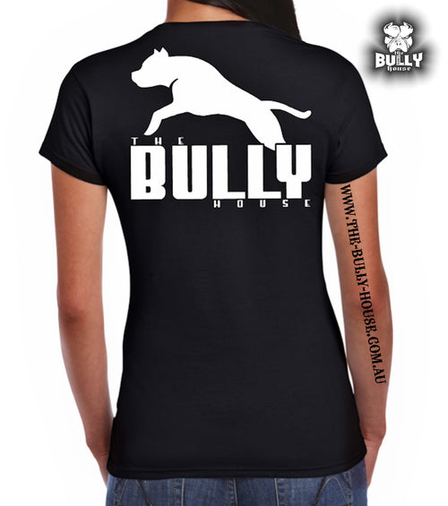 The Bully House -- INSPIRED NO.1 -- T-Shirt - WOMENS  CUT (White print)