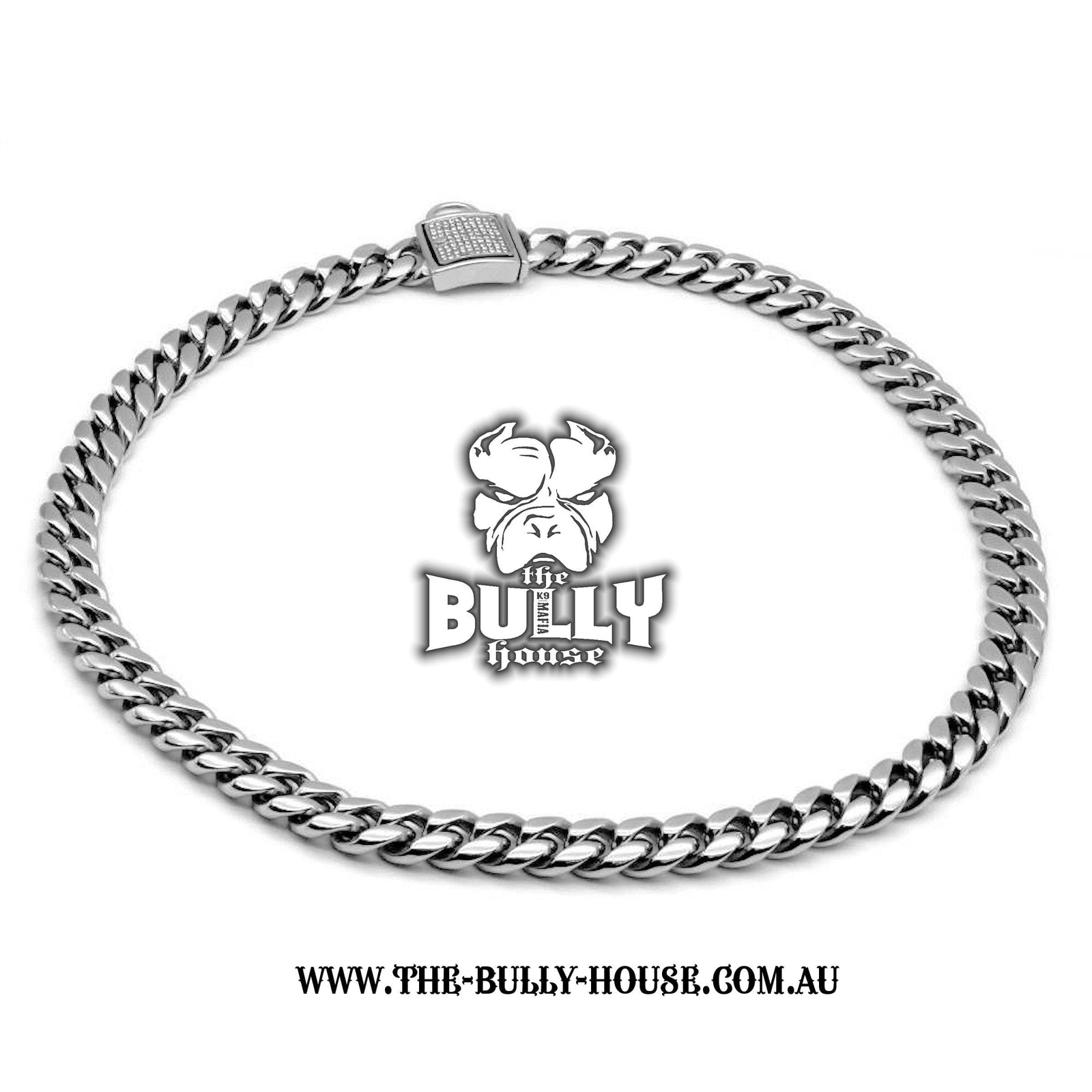 "The Bully House ""MIAMI Diamond Padlock"" - SILVER 14mm Wide -"
