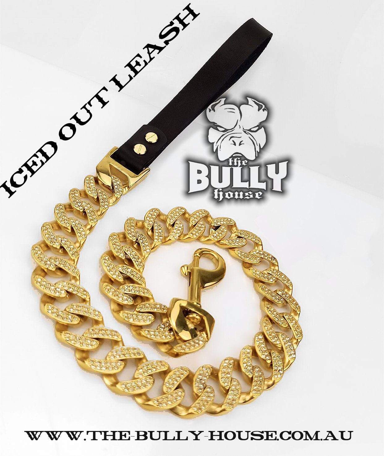 "The Bully House ""ICED OUT KING - LEASH - Diamond Collection"" GOLD -- (INCLUDES FREE EXPRESS POST) in AUST"
