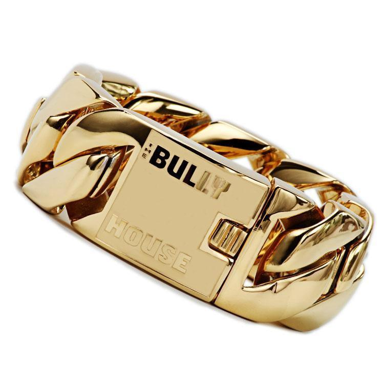 "The Bully House  ""BIG  FAT MONSTER BRACELET"" GOLD 32mm wide  ---FREE SHIPPING---- in Oz"