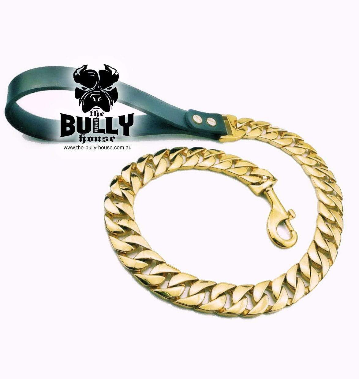 "The Bully House ""MONSTER LEASH Collection"" GOLD -- 32mm Wide   (Free Post in Aust) !!!! PRE RESERVE NOW - LANDING early OCT !!!!"