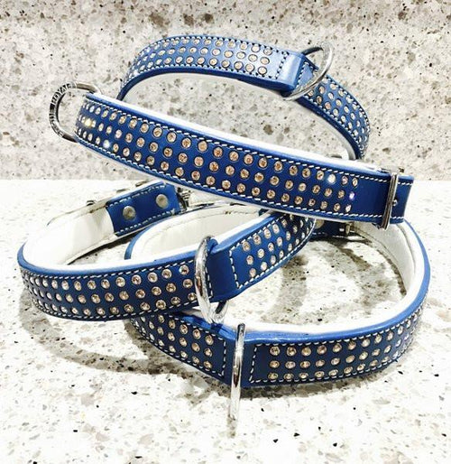 "Dog Collar - ""Shimmer"" Swarovski Collection -- ROGUE ROYALTY (clearance) ROYAL BLUE"