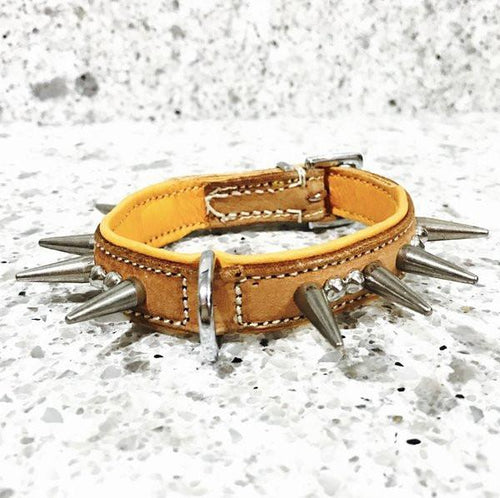 "Dog Collar - ""TinyTuff"" Spiked Leather Collar (SMALL DOG or PUPPY)-- ROGUE ROYALTY (clearance) BUCKSKIN"