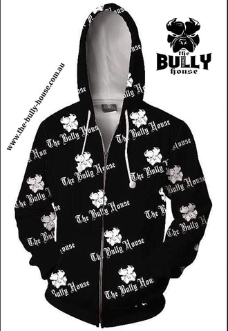 HARDCORE LONG SLEEVE BULLY JUMPERS by THE BULLY HOUSE -(Unisex) WHITE with RED EDITION
