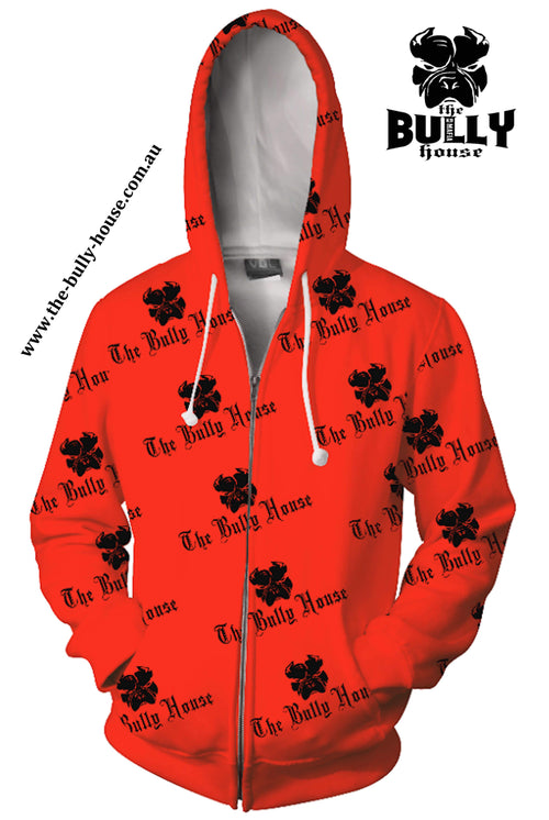 All Over Print - The Bully House -- HARDCORE Zip Up Hoodie -- (Unisex) RED / BLACK