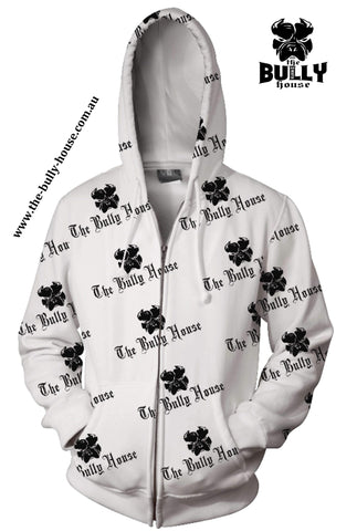 All Over Print - The Bully House -- HARDCORE Zip Up Hoodie -- (Unisex) BLACK / WHITE