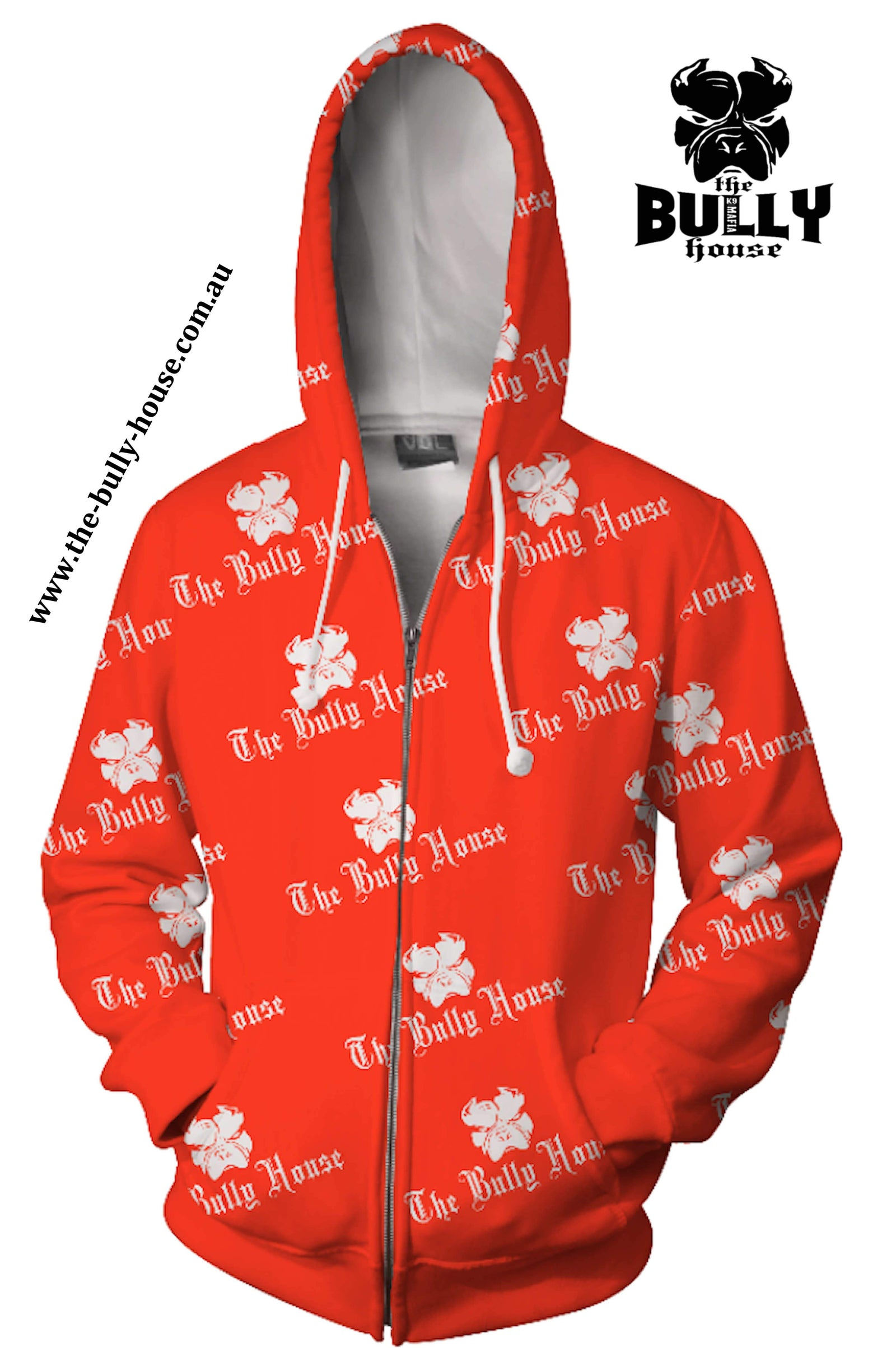 All Over Print - The Bully House -- HARDCORE Zip Up Hoodie -- (Unisex) RED / WHITE