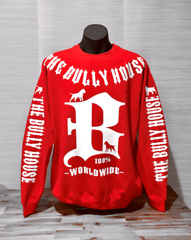 HARDCORE LONG SLEEVE BULLY JUMPERS by THE BULLY HOUSE--(Unisex) -RED EDITION-