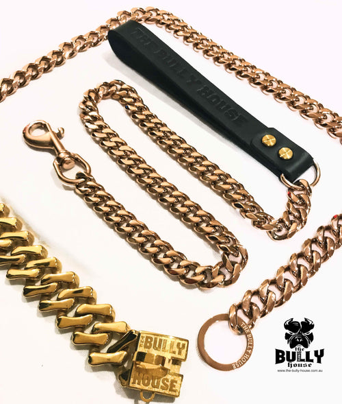 "The Bully House ""LEASH Collection"" ROSE GOLD 18mm Wide - 90CM !!!! PRE RESERVE NOW - LANDING SEPTEMBER !!!!"