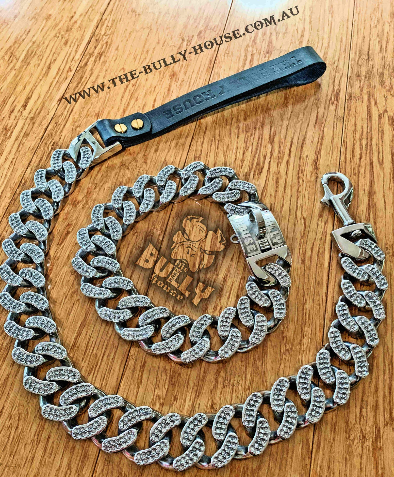 "ICED OUT KING - LEASH - Diamond Collection"" PLATINUM SILVER -- (INC FREE EXP POST) in AUST"
