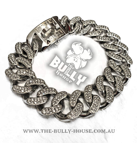 "The Bully House ""MIAMI Diamond Padlock"" - SILVER 14mm Wide - Small breed/puppy *** PRE RESERVE Landing approx end SEPTEMBER/OCT ***"