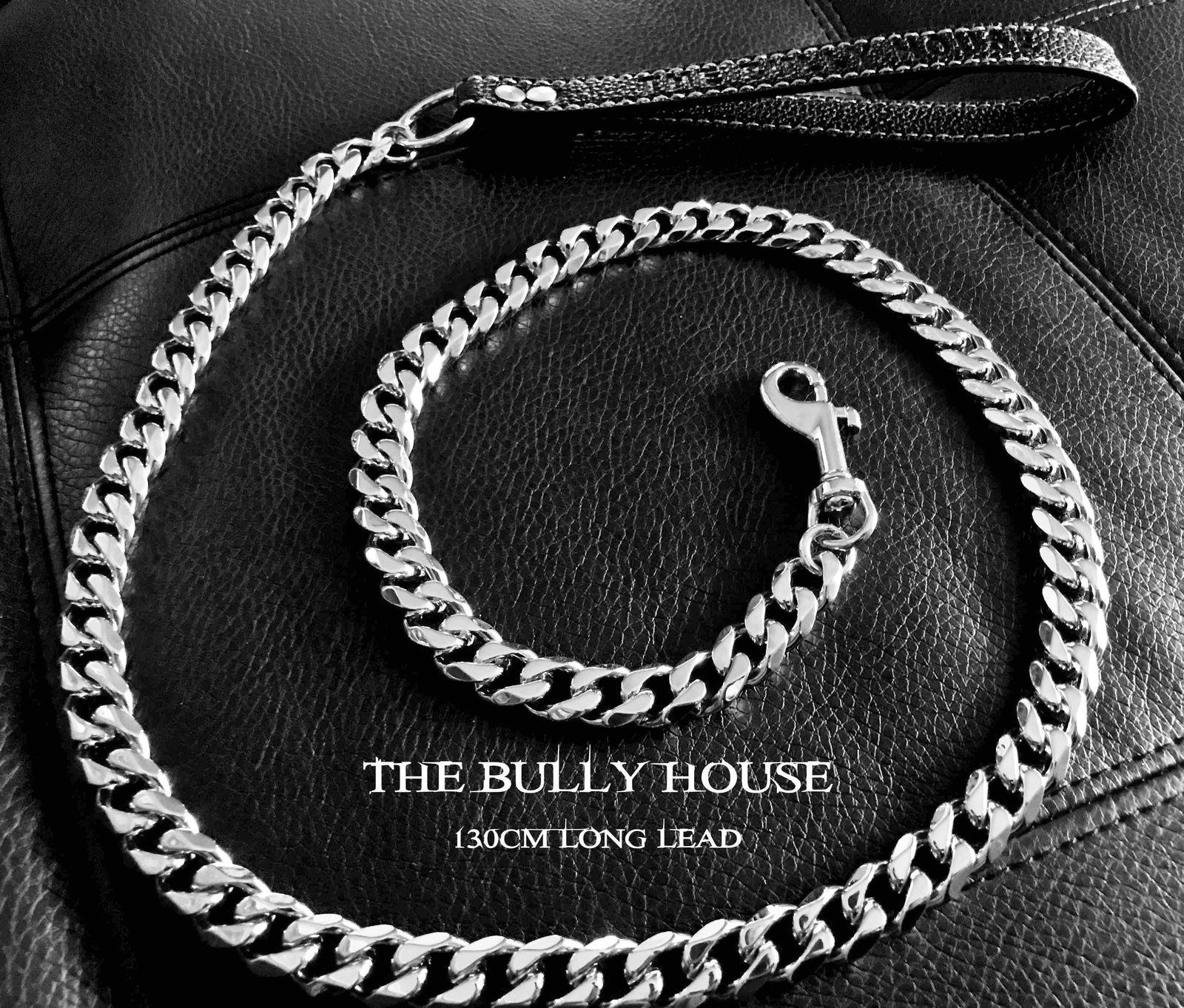 "The Bully House ""LEASH Collection"" SILVER 18mm Wide - 130CM LONG  !!!! PRE RESERVE NOW - LANDING SEPTEMBER !!!!"