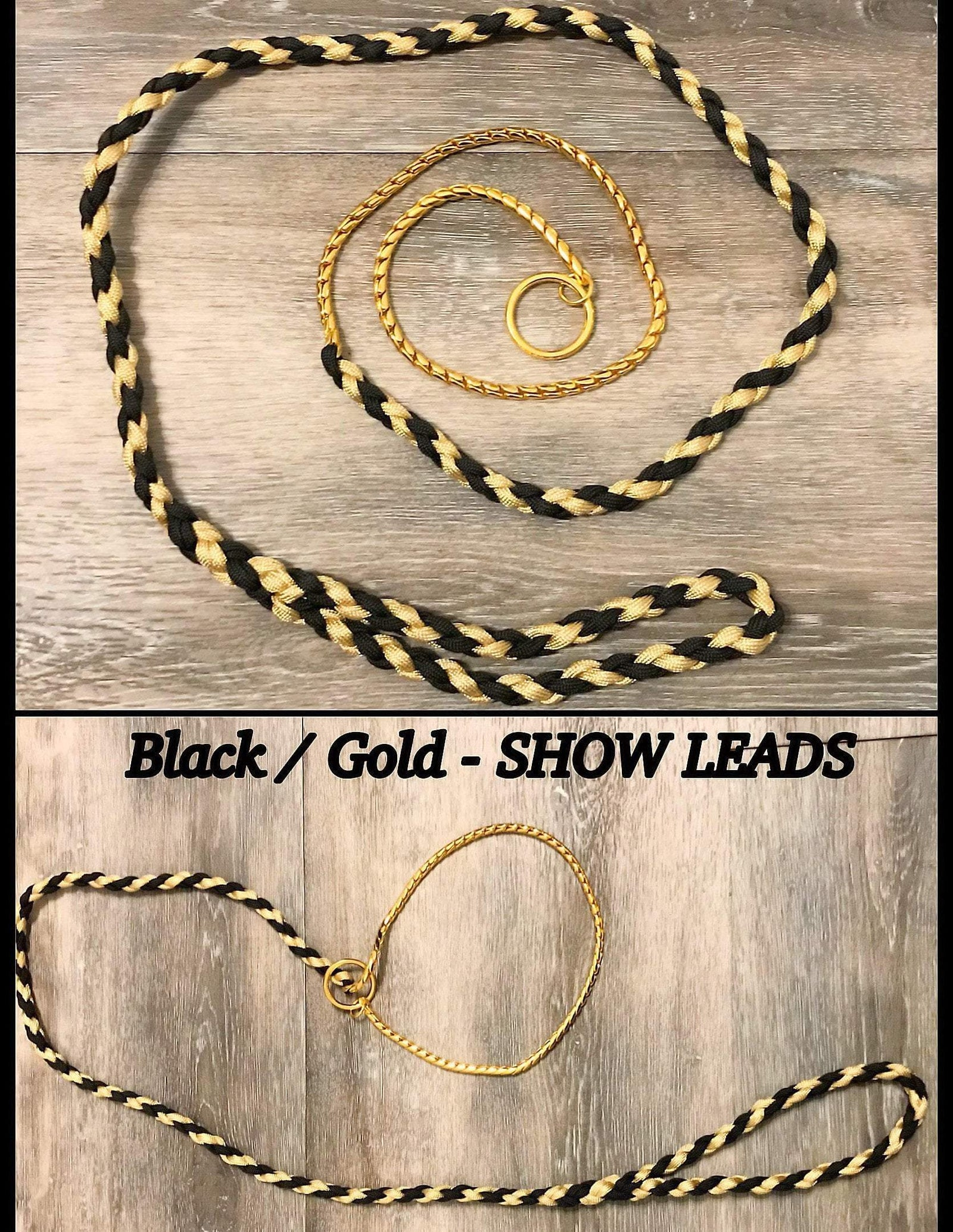 SHOW LEAD / LEASH (Black and Gold)
