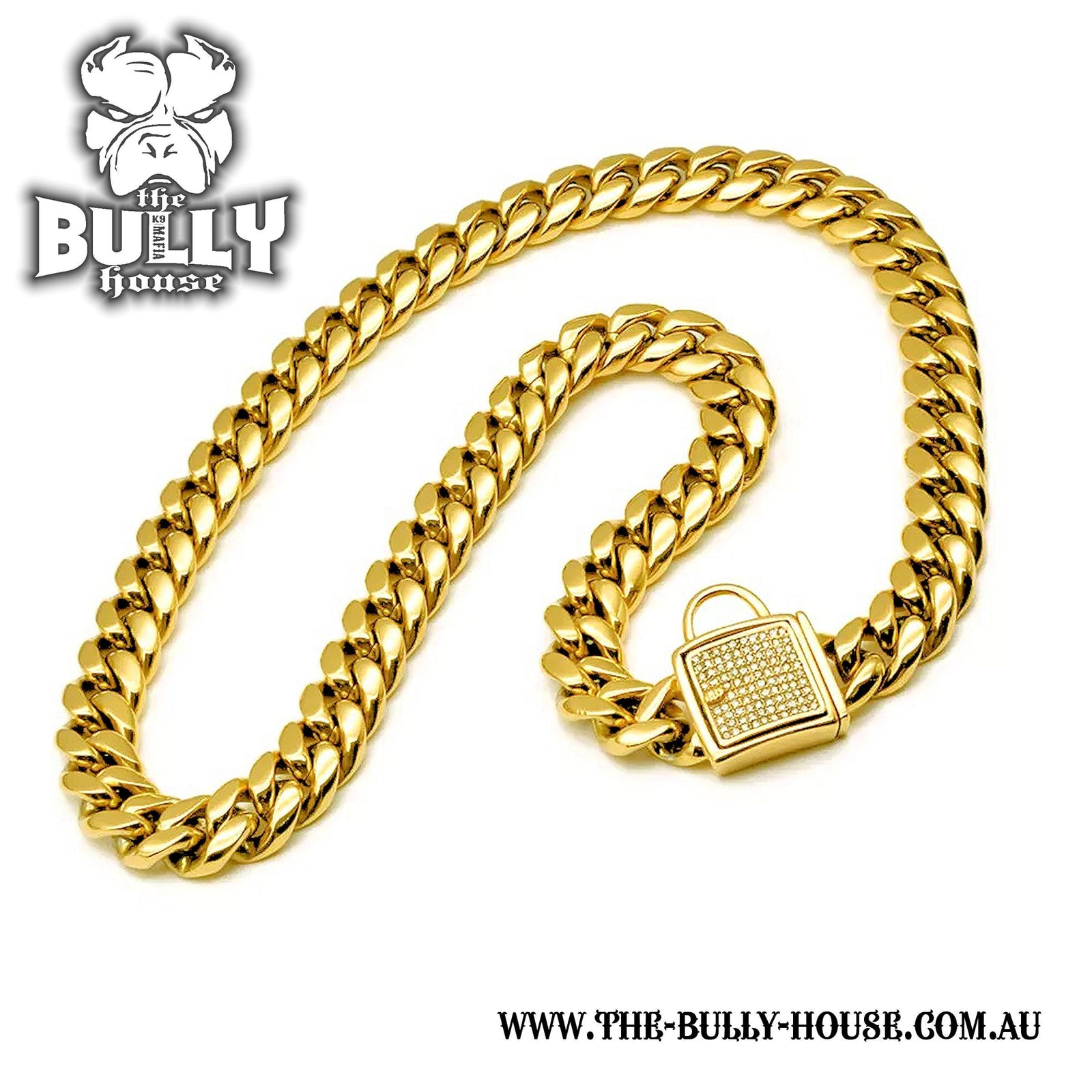 "The Bully House ""MIAMI Diamond Padlock"" - GOLD 14mm Wide - Small breed/puppy *** PRE RESERVE Landing approx end SEPTEMBER/OCT ***"