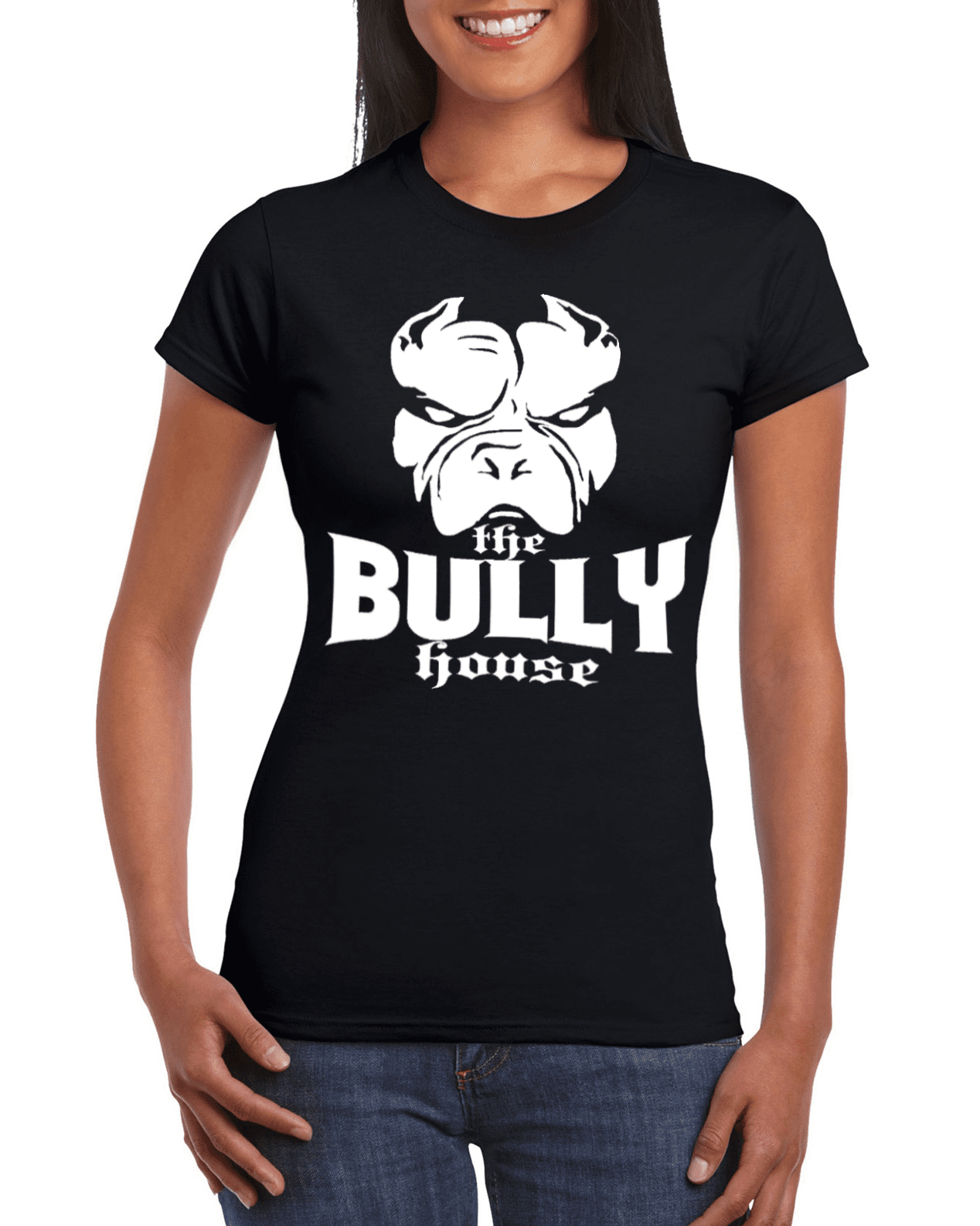 The Bully House -- T-SHIRT - WOMENS  CUT (White print)