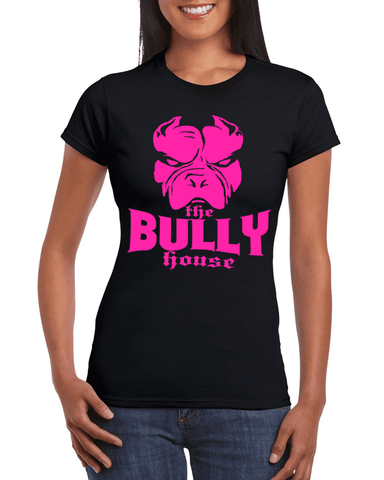 The Bully House --  Neck Piece/Logo -- T-Shirt - WOMENS CUT // White Print