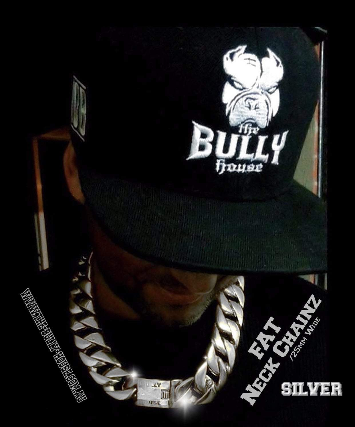 "The Bully House  ""  FAT NECK CHAINZ Collection"" SILVER 25mm Wide NECKLACE -"
