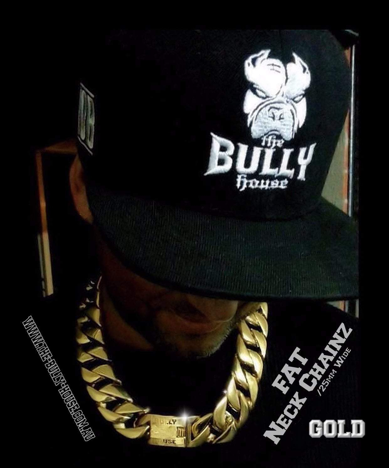 "FAT NECK CHAINZ Collection"" GOLD 25mm Wide NECKLACE - by the bully house (free shipping in OZ)"