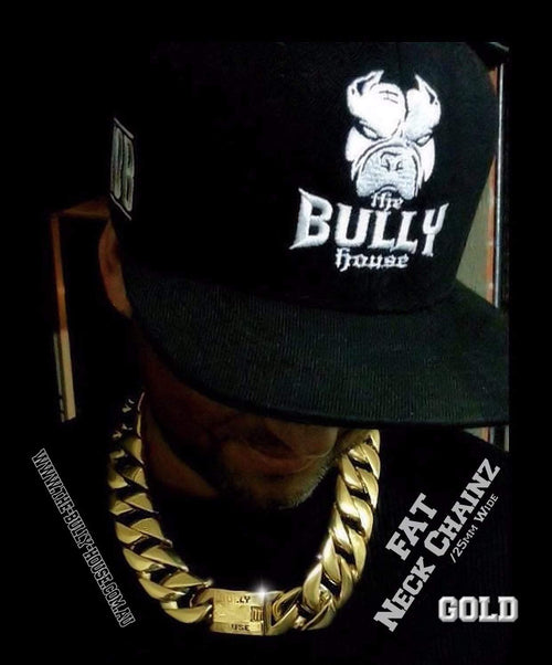 "The Bully House  ""  FAT NECK CHAINZ Collection"" GOLD 25mm Wide NECKLACE -"